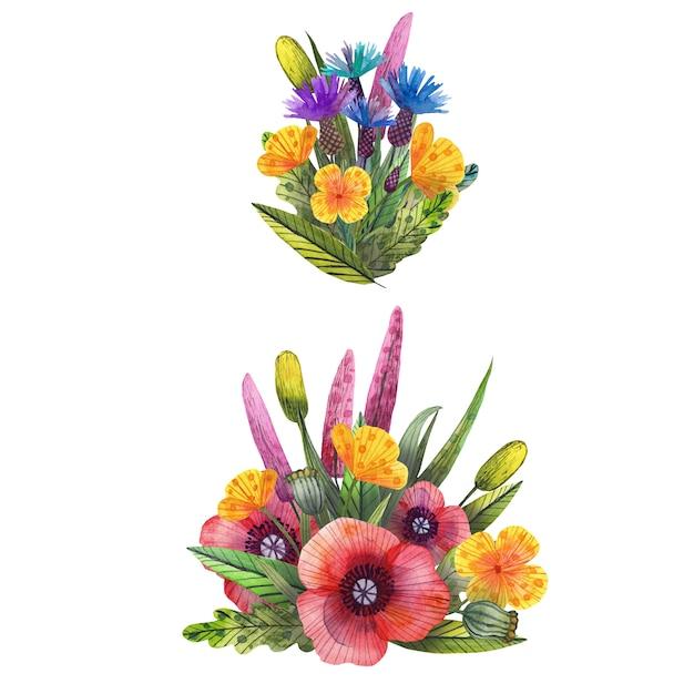 Set of watercolor wild wildflowers Premium Photo