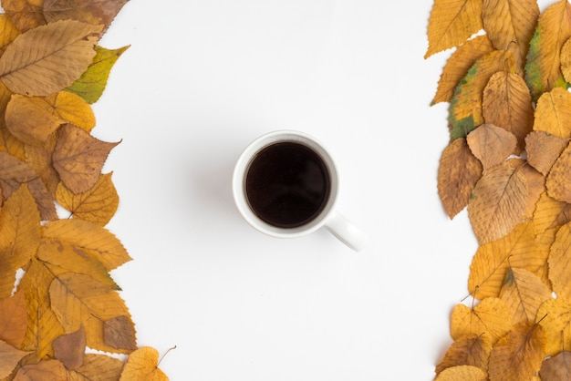 5f4f79b3dc4 Set with autumn leaves and coffee cup Photo | Free Download
