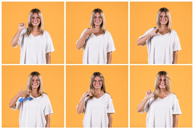 Set of woman showing different deaf sign alphabets Premium Photo