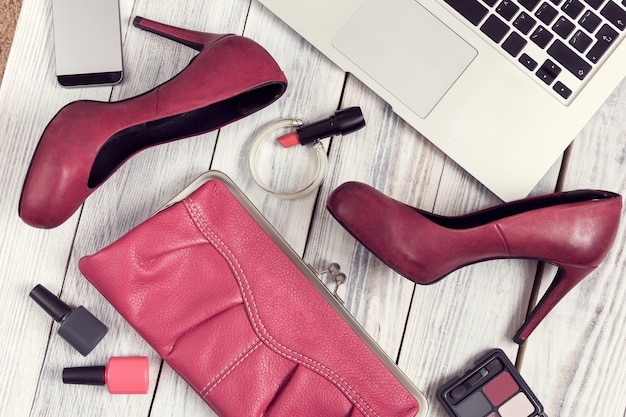 Set of women's accessories and gadgets Premium Photo