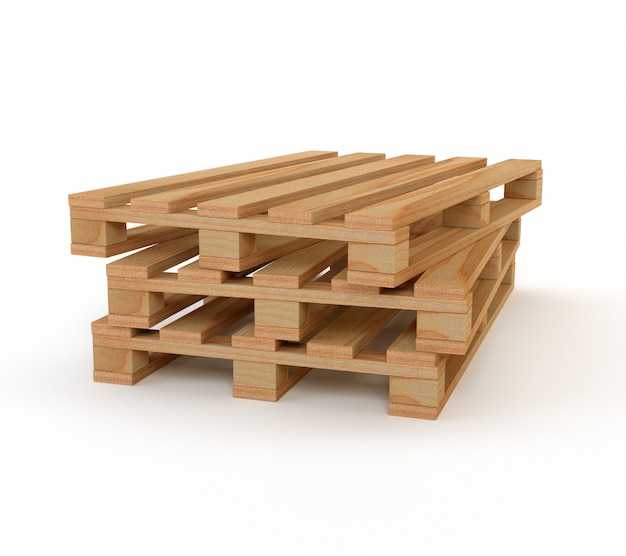 A set of wooden pallets isolated on white background  3d