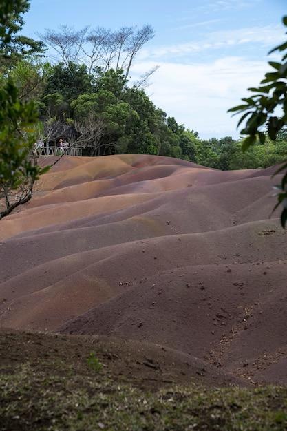 Seven colored earth, chamarel, mauritius Premium Photo