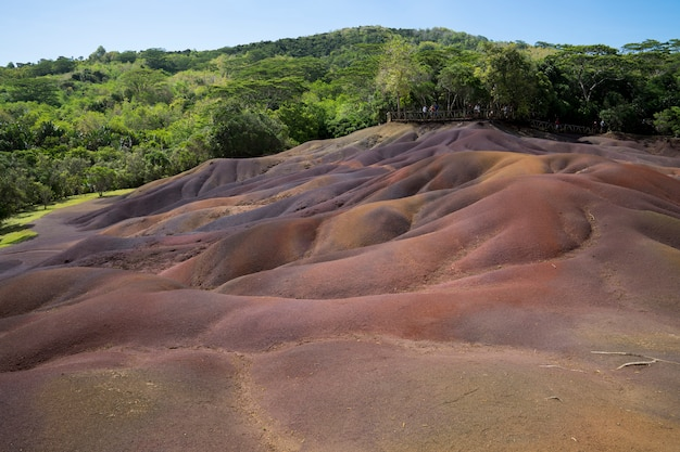 The seven colored earth is a volcanic geological phenomenon resulting in seven colour Premium Photo