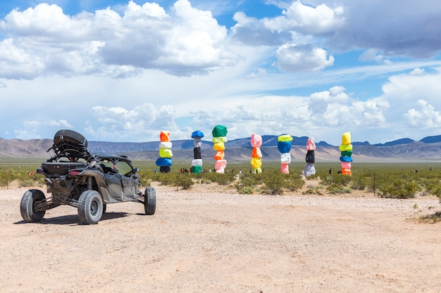 Seven magic mountains art installation near las vegas city. pillars made of neon colored boulders. Premium Photo