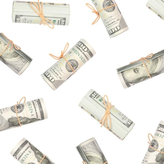 Several bundles of us dollars isolated on white Premium Photo