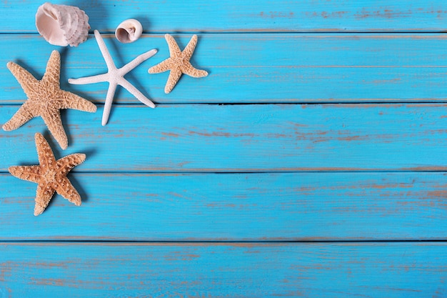 several starfish old weathered blue beach wood deck