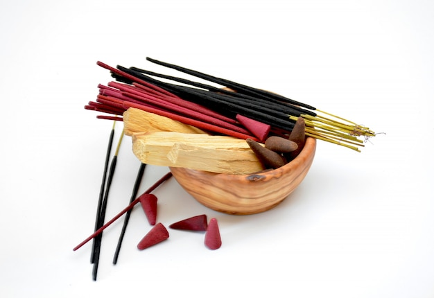 Several types of incense on a bowl Premium Photo