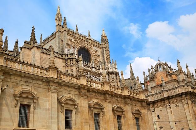 Seville cathedral facade in sevilla spain Premium Photo