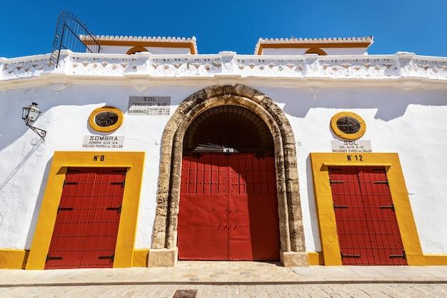 Seville real maestranza bullring plaza toros de sevilla in andalusia spain. Premium Photo