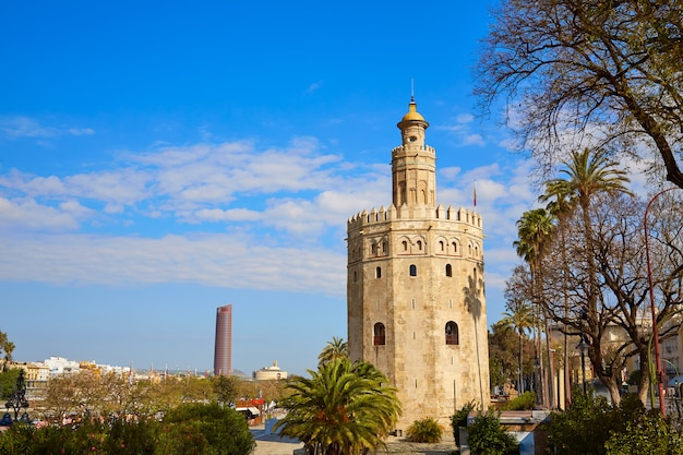 Seville torre del oro tower in sevilla spain Premium Photo
