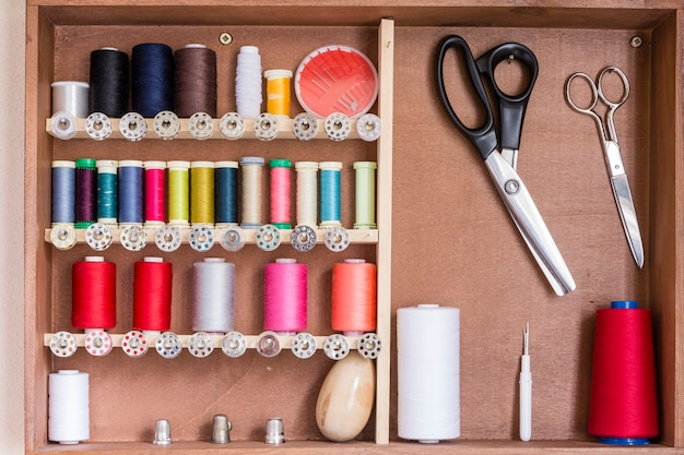Sewing tools and sewing kit Premium Photo