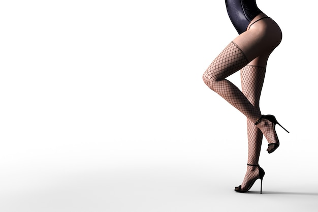 검은 레이스 란제리와 스타킹에 섹시한 3d 모델. 3d 일러스트 레이터. 프리미엄 사진