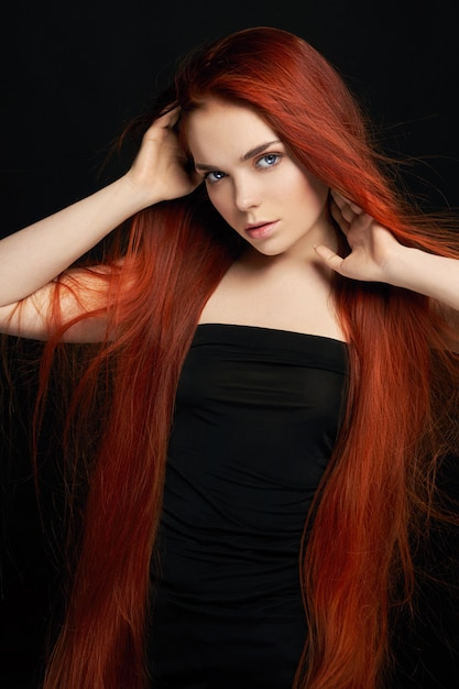 Premium Photo Sexy Beautiful Redhead Girl With Long Hair Perfect
