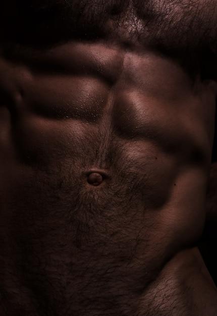 섹시한 남성 배 프리미엄 사진