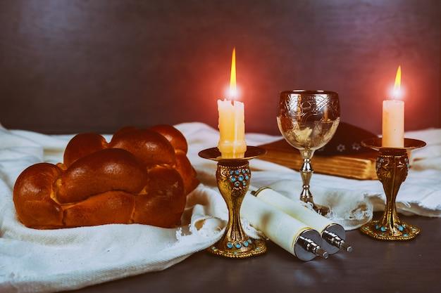 Shabbat shalom - traditional jewish ritual matzah, bread, Premium Photo