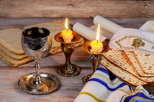Shabbat shalom - traditional jewish sabbath ritual matzah wine. Premium Photo