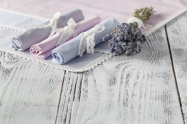 Shabby chic background with napkins and lavender Premium Photo