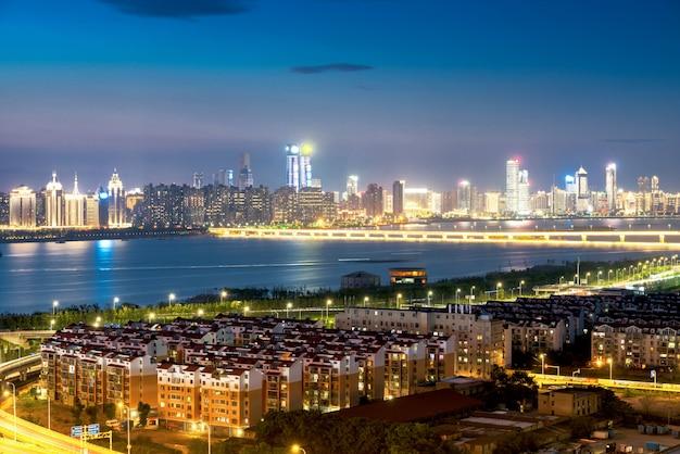 Shanghai interchange overpass and elevated road in nightfall Premium Photo
