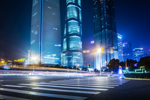 Shanghai Lujiazui Finance and Trade Zone of the modern city night  background Free Photo