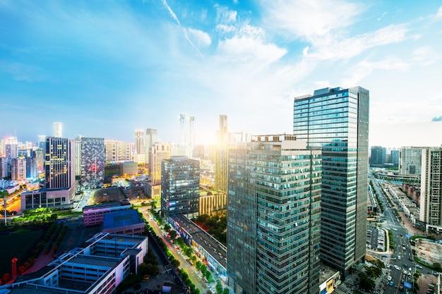 Shanghai skyline and cityscape at sunset Premium Photo