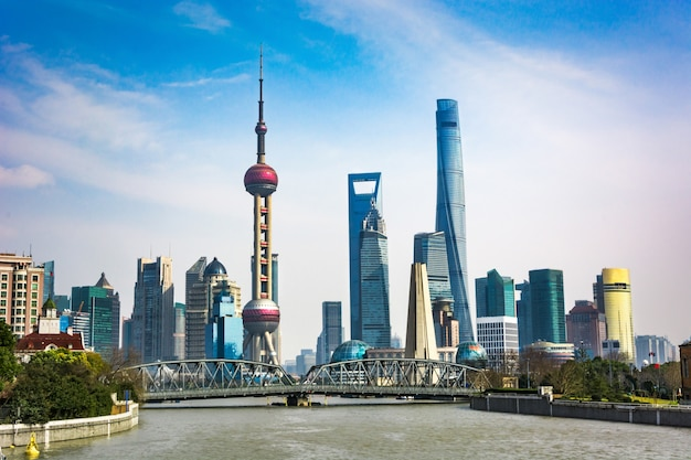 Shanghai skyline in sunny day, China Free Photo