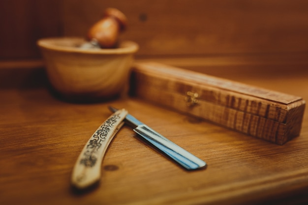 Shaving accessories on a luxury Premium Photo