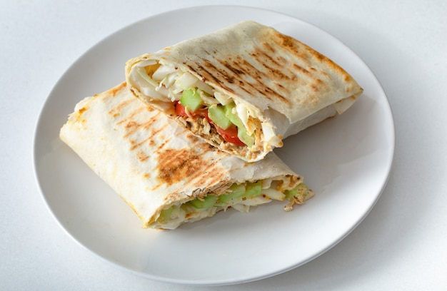 Shawarma, homemade sandwich. healthy balanced food. selective focus Premium Photo