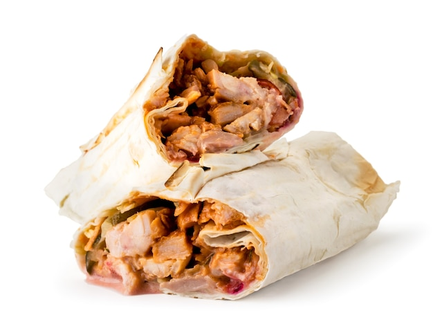 Shawarma with fried meat close-up on white Premium Photo