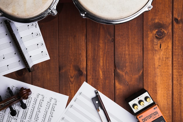 Sheet music and musical instruments Free Photo