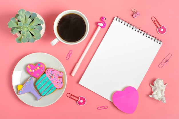 Sheets for note, paper clips, pen - flamingo, sukulent, stickers heart, gingerbread, angel Premium Photo