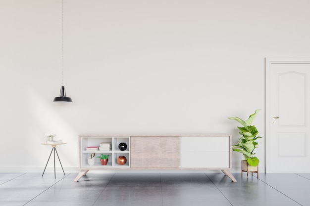 Shelf tv in modern empty room,minimal design. Premium Photo
