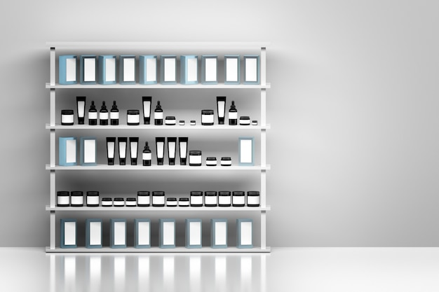Shelf with skin care cream products packages on white wall background. black plastic shiny cosmetics containers with white blank labels. Premium Photo