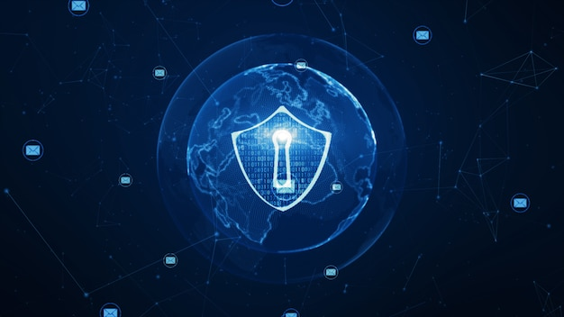 Shield and email icon on secure global network Premium Photo