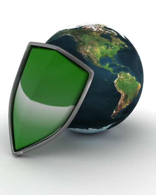 Shield and globe internet protection Free Photo