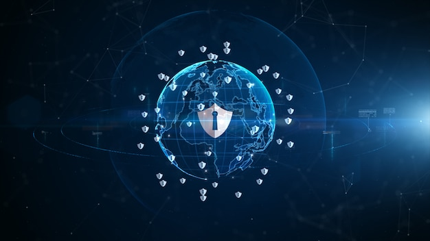 Shield icon cyber security, digital data network protection,  technology digital network data connection,  digital cyberspace future background concept. Premium Photo