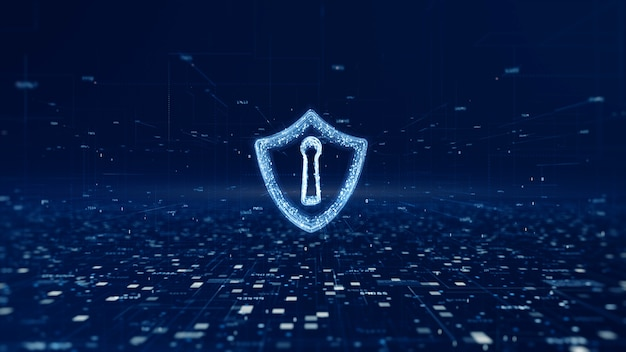 Shield icon of cyber security, digital data network protection Premium Photo