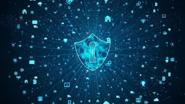 Shield icon of secure data network, cyber security and information network protection, future technology network for business and internet marketing concept. Premium Photo