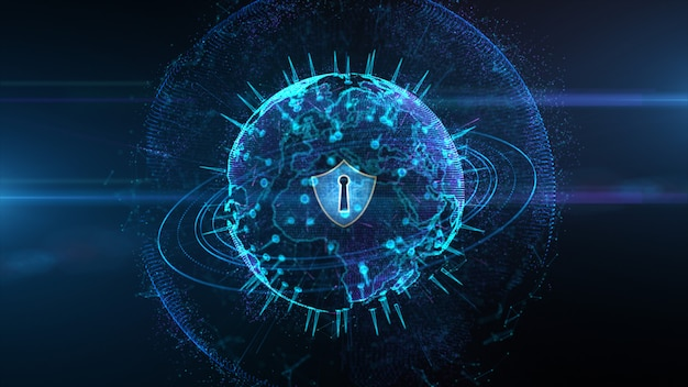 Shield icon on secure global network, cyber security and protection of personal digital data concept Premium Photo