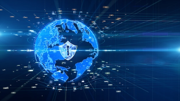 Shield icon on secure global network , digital data network connected, cyber security concept Premium Photo