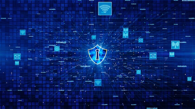 Shield icon and secure network communication, cyber security concept. Premium Photo