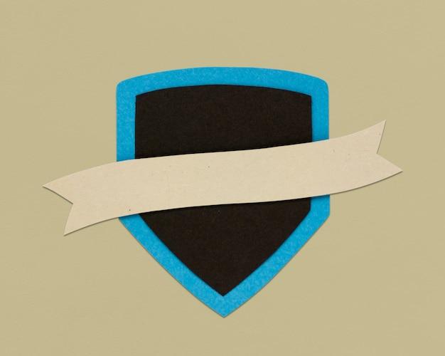 Shield ribbon protection sign symbol Free Photo