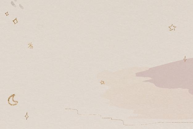 Мерцающий золотой узор луны и звезд на акварели Бесплатные Фотографии