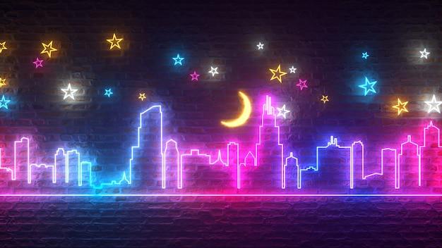 星と月のあるレンガの壁に輝くネオンの夜の街 Premium写真