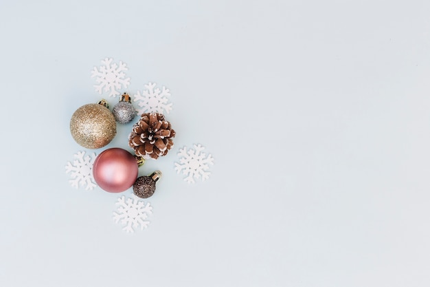 Shiny baubles with snowflakes Free Photo