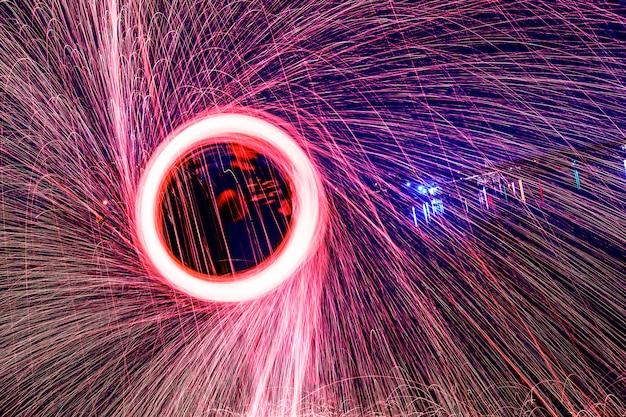 Shiny fire circle Free Photo