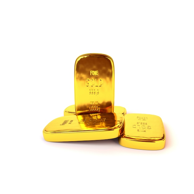 Shiny gold ingots of the highest standard on a white background. 3d illustration, render Premium Photo