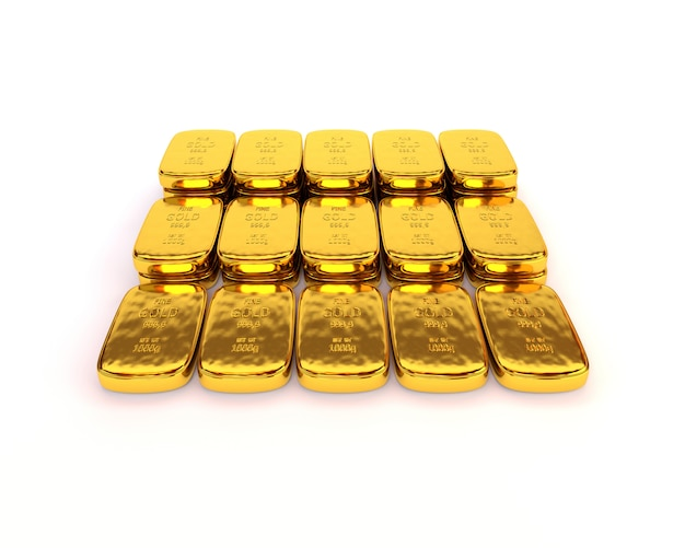Shiny gold ingots of the highest standard on a white background. 3d illustration Premium Photo