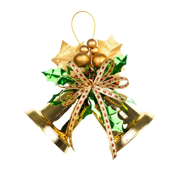 Shiny Golden Christmas Bells Decorated Photo Free Download
