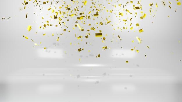 흰색 바탕에 빛나는 황금 색종이 프리미엄 사진