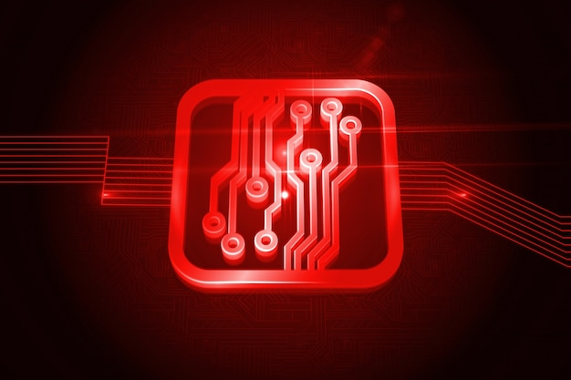 shiny red circuit board on black background photo premium download